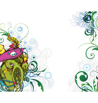 Free funny monsters with floral vector - vector gratuit #245995
