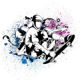 Free skater with grunge vector - Free vector #246235