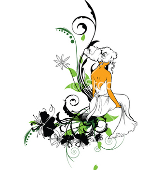 Free girl with floral vector - Free vector #246425