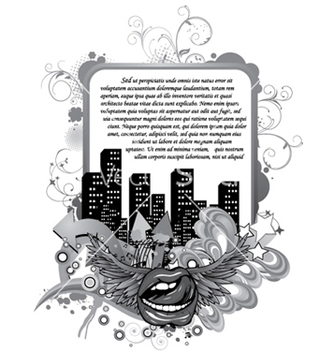 Free mouth with city and floral vector - Kostenloses vector #246675