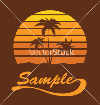 Free summer tshirt design with palm trees vector - Free vector #247215