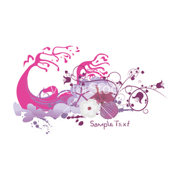 Free floral with grunge and sea creatures vector - Free vector #247405