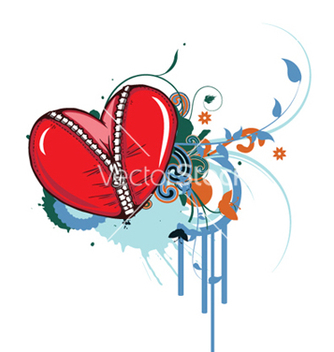 Free heart with floral vector - vector #247895 gratis