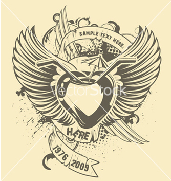 Free grunge tshirt design with heart vector - Free vector #247945