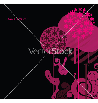 Free abstract floral background with trees vector - Free vector #247985