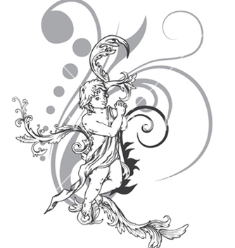 Free angel with floral vector - vector gratuit #248335