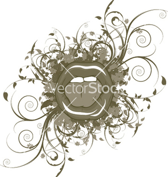Free mouth with floral vector - vector gratuit #248395