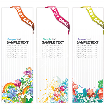 Free web banners with floral vector - Free vector #248455