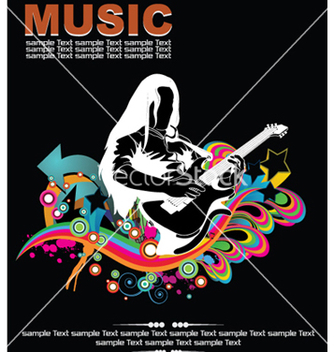 Free music background with guitar player vector - Kostenloses vector #248785