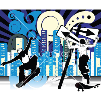 Free urban background with skaters vector - Free vector #249315