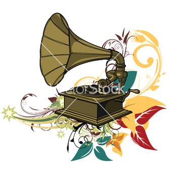Free gramophone with floral vector - бесплатный vector #249585