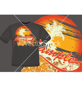 Free summer tshirt design with palm trees vector - бесплатный vector #250315