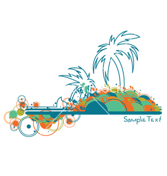 Free summer background with palm trees vector - Free vector #250485