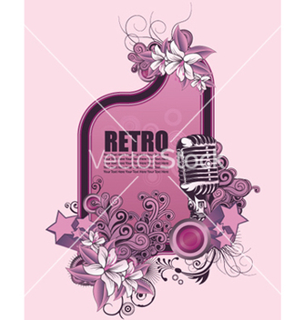 Free retro music frame with microphone vector - Kostenloses vector #250525
