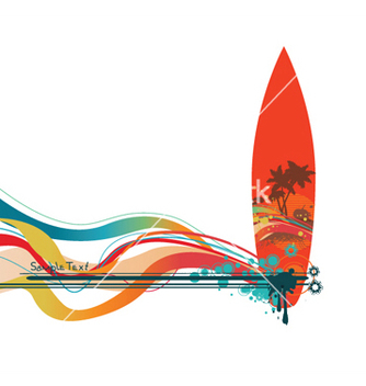Free summer background with surfboard vector - vector gratuit #251225