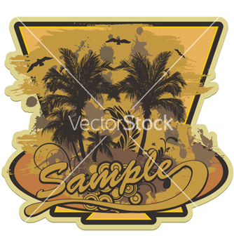 Free grunge summer label with palm trees vector - Kostenloses vector #251395