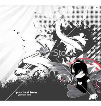 Free emo kid with 3d arrows vector - Free vector #251465