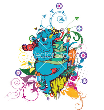 Free funny monsters with floral vector - Kostenloses vector #251535