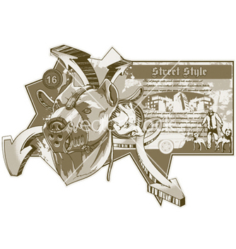 Free vintage urban label with pitbull vector - Kostenloses vector #251565