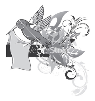 Free bird with abstract floral vector - Kostenloses vector #251755