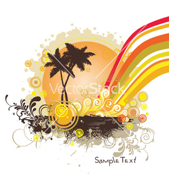 Free summer with palm trees vector - Free vector #252535