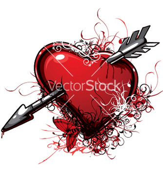 Free heart with floral vector - vector #253205 gratis