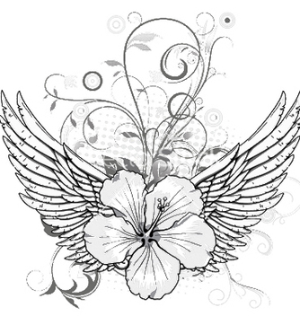 Free spring floral with wings vector - Free vector #253255