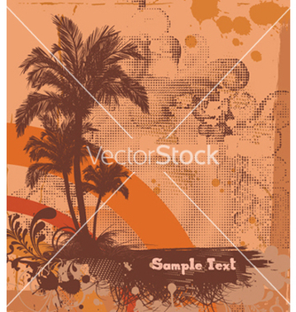 Free summer poster with palm trees vector - vector gratuit #253335