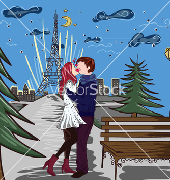 Free paris doodles with lovers vector - Free vector #254535