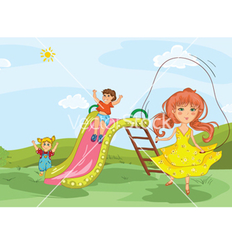Free kids playing in the park vector - Free vector #255285