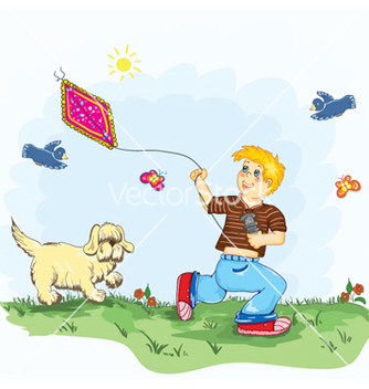 Free kid with kite vector - Kostenloses vector #255345