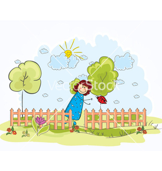 Free little girl with trees vector - Free vector #255375