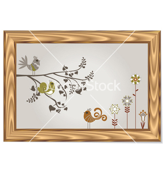 Free wood frame with floral and birds vector - vector gratuit #256695