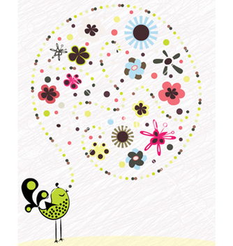 Free abstract bird with floral vector - Free vector #257105