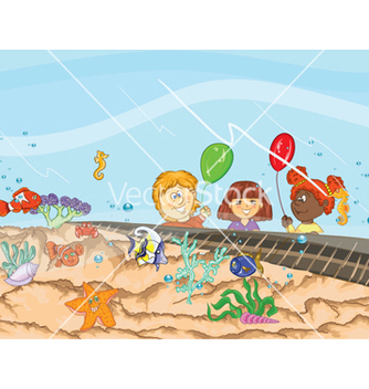 Free kids at the aquarium vector - vector gratuit #257245