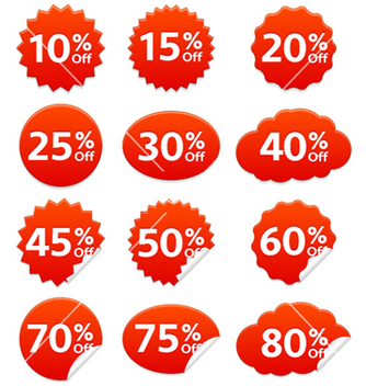 Free discount stickers set vector - Kostenloses vector #257305