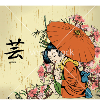 Free geisha with floral vector - Free vector #257615