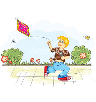 Free boy with kite vector - Kostenloses vector #257745