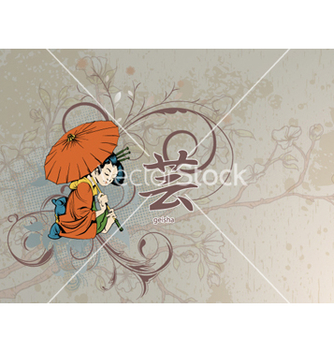 Free geisha with floral vector - Free vector #258535