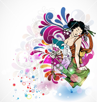 Free colorful background with geisha vector - Free vector #258685