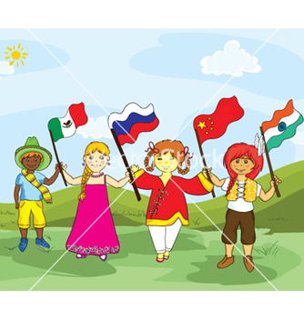 Free kids with flags vector - vector #258705 gratis