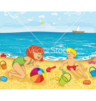 Free mother and kid on the beach vector - Kostenloses vector #260015