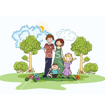 Free cartoon family background vector - vector #260155 gratis