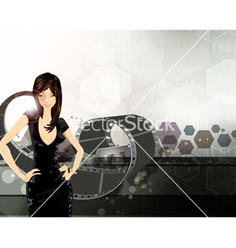 Free glamour girl with film strip vector - бесплатный vector #260255