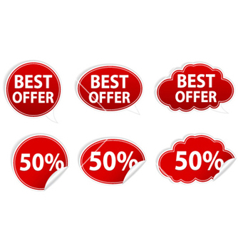 Free discount stickers set vector - vector #260685 gratis
