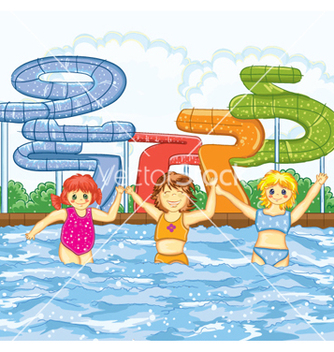 Free kids playing in the swimming pool vector - vector gratuit #260865