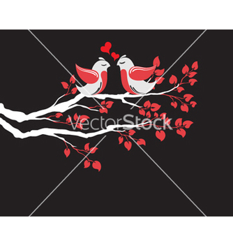 Free love birds on branch vector - vector gratuit #261675