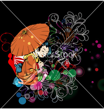 Free colorful background with geisha vector - Free vector #261865