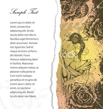Free torn cardboard with roses and geisha vector - Kostenloses vector #261905