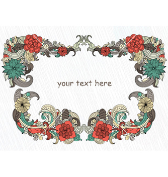 Free retro floral frame vector - Free vector #262055